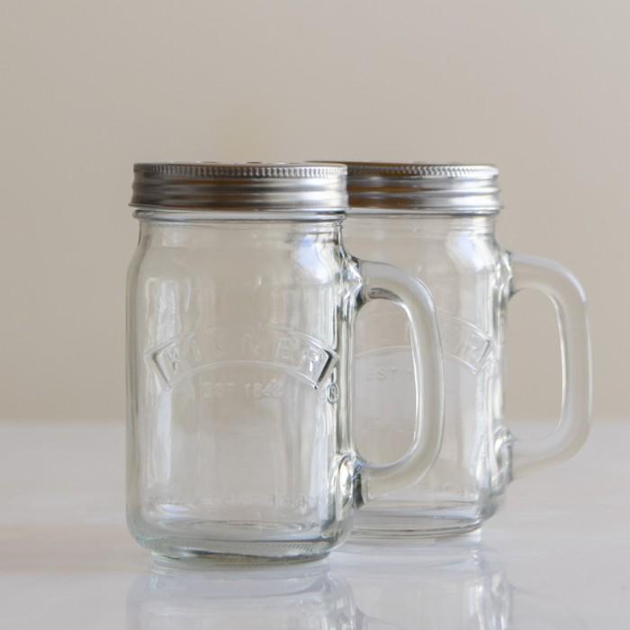 Set de 2 jarras de cristal con asa Kilner
