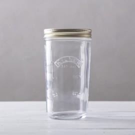Tarro de cristal con boca ancha, medidor y cierre de rosca