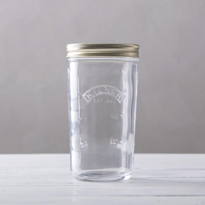 Tarro de cristal con boca ancha, medidor y cierre de rosca de Kilner