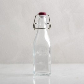 Botella de cristal cuadrada con cierre hermético, 250ml
