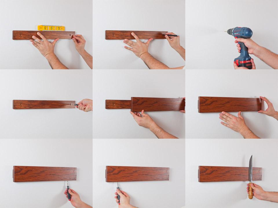 Montaje soporte magnético para cuchillos